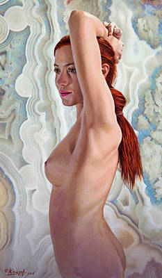 Background Painting - Becca In Crazylace Stone by Paul Krapf