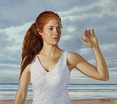 Figure Painting - Becca Waving by Paul Krapf