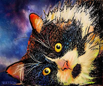 Digital Art - Beckham Tuxedo Cat by Marlene Watson