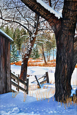 Snowscape Painting - Beckworth Bathed In Snow by Sandi Howell