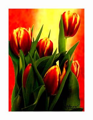 Becky Tulips Art2 Jgibney The Museum Gifts Art Print by The MUSEUM Artist Series jGibney