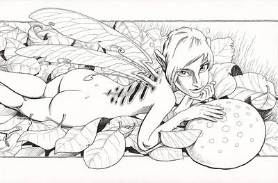 Fairy Drawing - Bed Of Leaves by Richard Moore