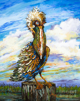 Brown Pelican Painting - Bedhead Boudreaux by Dianne Parks