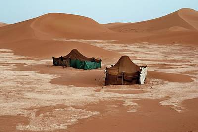 Sahara Photograph - Bedouin Tents And Sand Dunes by Jon Wilson