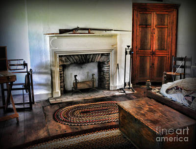 Wood Burning Photograph - Bedroom - Colonial Style by Paul Ward