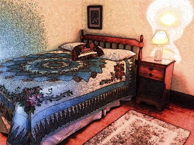 Bed Quilts Digital Art - Bedroom by David Blank