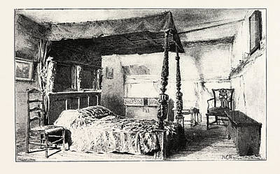 Stratford Drawing - Bedroom In Anne Hathaways Cottage At Shottery by English School