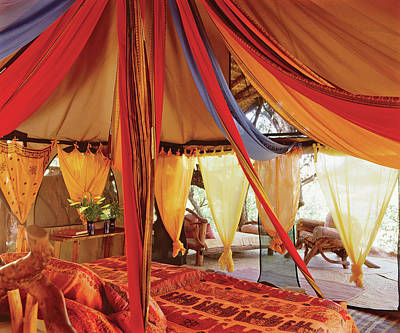 Photograph - Bedroom With Multi Coloured Bed Canopy by Tim Beddow