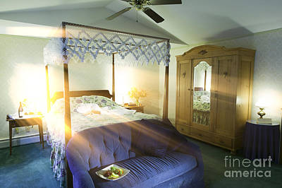 Photograph - Bedroom With Sunlight Streaking Through A Window. by Don Landwehrle