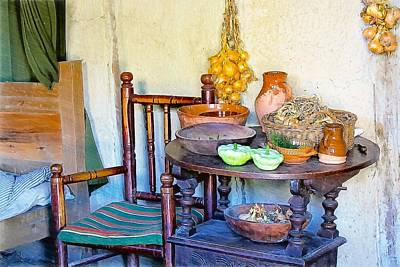 Bedside In A Pilgrim Cottage Art Print by Constantine Gregory