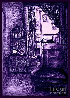 Mixed Media - Bedsit Refuge In Purple - With Border by Leanne Seymour