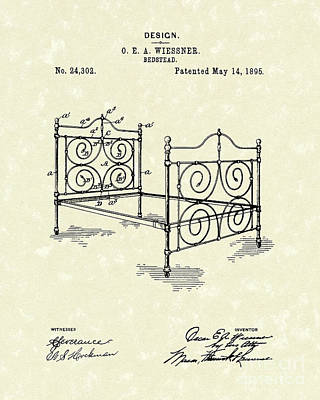 Drawing - Bedstead 1895 Patent Art by Prior Art Design