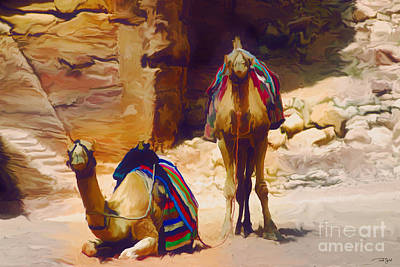Petra Painting - Bedu Camels On The Silk Road by Ted Guhl