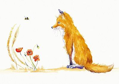Inspecting Painting - Bee A Summer Fox by Debra Hall