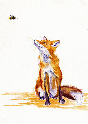 Red Fox Painting - Bee Enchanted by Debra Hall