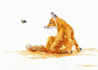 Red Fox Painting - Bee Entranced by Debra Hall