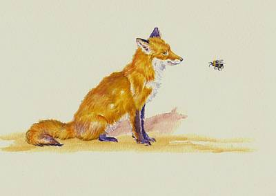 Fox Painting - Bee Foxed by Debra Hall