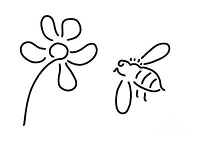 Animals Drawings - Bee Honey Flower Blossom by Lineamentum