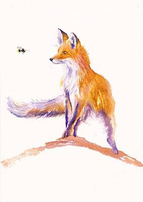 Red Fox Painting - Bee Inspired by Debra Hall