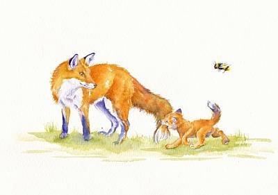 Fox Painting - Bee-loved by Debra Hall
