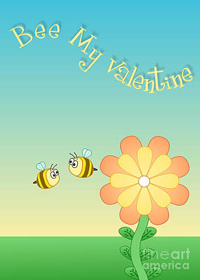 Digital Art - Bee My Valentine by JH Designs