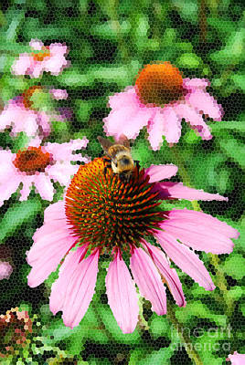 Digital Art - Bee On Cone Flower by Eva Kaufman