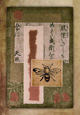 Calligraphy Photograph - Bee Papers by Carol Leigh