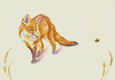 Fox Painting - Bee Shy by Debra Hall