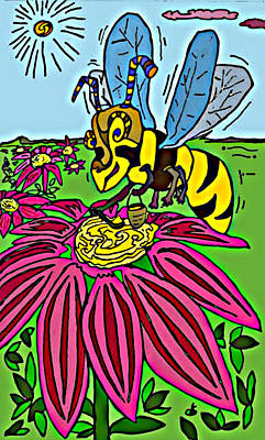 Nature Abstract Drawing - Bee World by Dylan Seibold