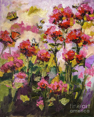 Bee Balm Painting - Beebalm And Bees by Ginette Callaway
