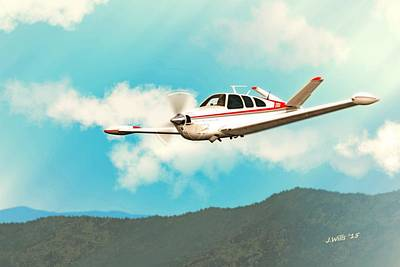 Beechcraft Digital Art - Beechcraft Bonanza V Tail Red by John Wills