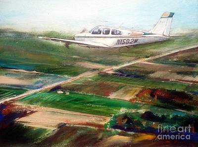 Beechcraft Painting - Beechcraft Bonanza by William III