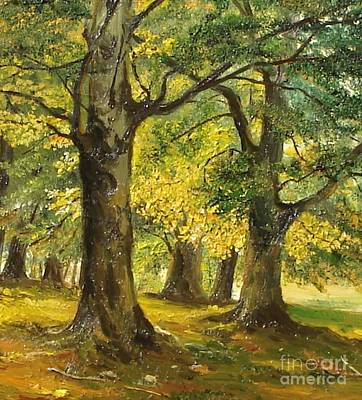 Beeches In The Park Art Print by Sorin Apostolescu