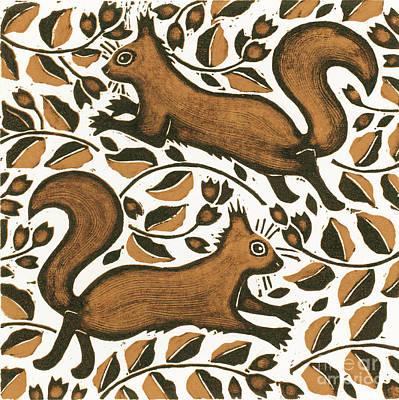 Animal Symbolism Painting - Beechnut Squirrels by Nat Morley