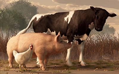 Chicken Digital Art - Beef Pork And Poultry  by Daniel Eskridge