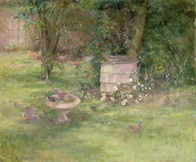 Bird Bath Painting - Beehive And Doves by Joyce Haddon