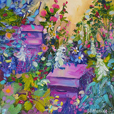 Beehives In The Garden Art Print