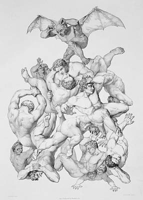 Sinners Drawing - Beelzebub Expels The Fallen Angels by Richard Edmond Flatters