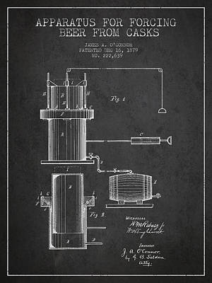Beer Royalty-Free and Rights-Managed Images - Beer Apparatus Patent Drawing from 1879 - Dark by Aged Pixel