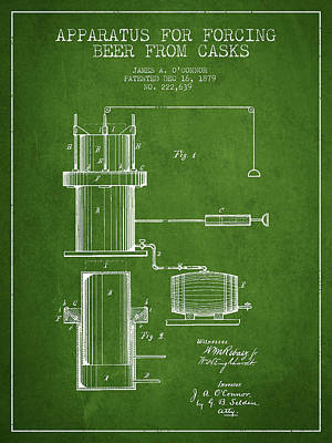 Beer Royalty-Free and Rights-Managed Images - Beer Apparatus Patent Drawing from 1879 - Green by Aged Pixel