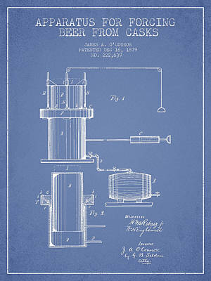 Beer Royalty-Free and Rights-Managed Images - Beer Apparatus Patent Drawing from 1879 - Light Blue by Aged Pixel