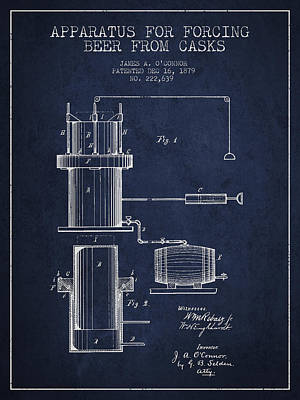 Beer Digital Art - Beer Apparatus Patent Drawing from 1879 - Navy Blue by Aged Pixel
