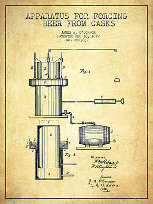 Beer Royalty-Free and Rights-Managed Images - Beer Apparatus Patent Drawing from 1879 - Vintage by Aged Pixel