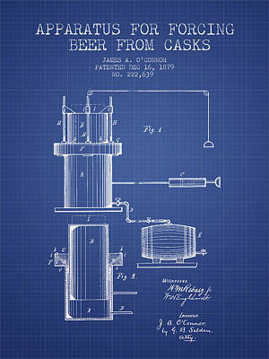 Beer Royalty-Free and Rights-Managed Images - Beer Apparatus Patent from 1879 - Blueprint by Aged Pixel