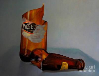 Broken Bottle Photograph - Beer Bottle Art by Al Bourassa