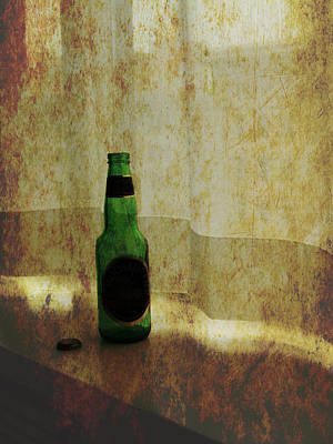 Ledge Photograph - Beer Bottle On Windowsill by Randall Nyhof
