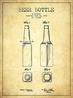 Glass Drawing - Beer Bottle Patent Drawing From 1934 - Vintage by Aged Pixel