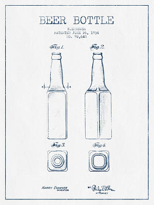 Glass Wall Digital Art - Beer Bottle Patent From 1934 -  Blue Ink by Aged Pixel