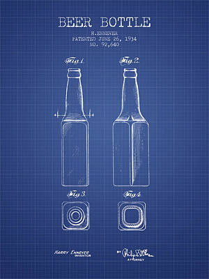 Beer Royalty-Free and Rights-Managed Images - Beer Bottle Patent from 1934 - Blueprint by Aged Pixel