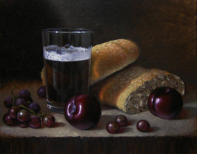 Painting - Beer Bread And Fruit by Timothy Jones